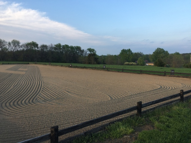 Outdoor riding arena at farm